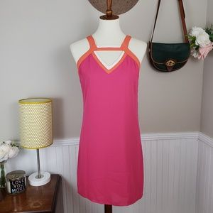 Skies Are Blue Neon Pink Cutout Shift Dress NWT